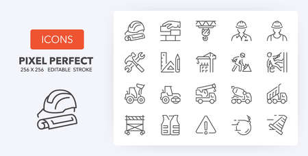 Construction and architecturethin line icon set. Outline symbol collection. Editable vector stroke. 256x256 Pixel Perfect scalable to 128px, 64px...