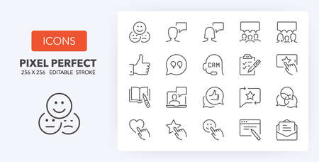Testimonials and customer relationship management thin line icon set. Outline symbol collection. Editable vector stroke. 256x256 Pixel Perfect scalable to 128px, 64px...
