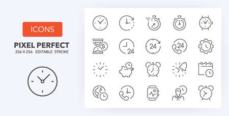 Time concepts and clocks thin line icon set. Outline symbol collection. Editable vector stroke. 256x256 Pixel Perfect scalable to 128px, 64px...