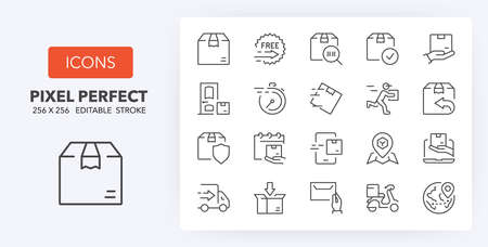 Shipping and delivery thin line icon set. Outline symbol collection. Editable vector stroke. 256x256 Pixel Perfect scalable to 128px, 64px...