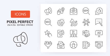 Marketing, advertising and promotional campaigns thin line icon set. Outline symbol collection. Editable vector stroke. 256x256 Pixel Perfect scalable to 128px, 64px... Illusztráció