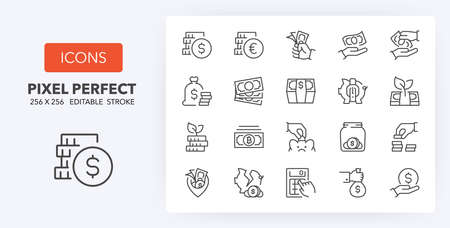 Money, coins and finances thin line icon set. Outline symbol collection. Editable vector stroke. 256x256 Pixel Perfect scalable to 128px, 64px ...