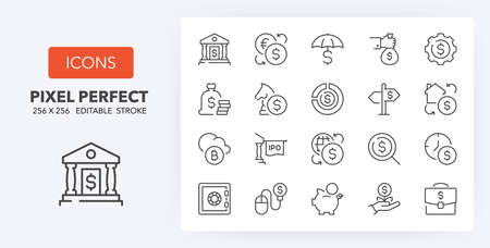Money and financial thin line icon set. Outline symbol collection. Editable vector stroke. 256x256 Pixel Perfect scalable to 128px, 64px ...
