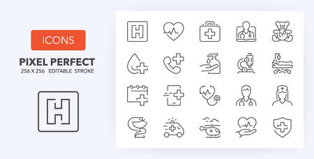 Hospital and medical care thin line icon set. Outline symbol collection. Editable vector stroke. 256x256 Pixel Perfect scalable to 128px, 64px ... Illusztráció