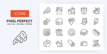 Fast food and take away thin line icon set. Outline symbol collection. Editable vector stroke. 256x256 Pixel Perfect scalable to 128px, 64px ...
