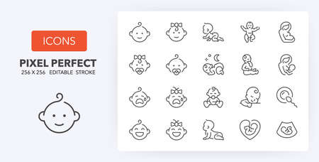 Babies, motherhood and lactation thin line icon set. Outline symbol collection. Editable vector stroke. 256x256 Pixel Perfect scalable to 128px, 64px ...