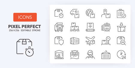 Logistics and transportation thin line icon set. Outline symbol collection. Editable vector stroke. 256x256 Pixel Perfect scalable to 128px, 64px ...