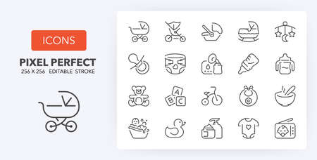 Babies accessories and lactation thin line icon set. Outline symbol collection. Editable vector stroke. 256x256 Pixel Perfect scalable to 128px, 64px ...