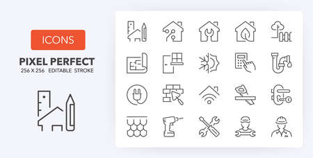 Home renovation, improvement and repair thin line icon set. Outline symbol collection. Editable vector stroke. 256x256 Pixel Perfect scalable to 128px, 64px ...