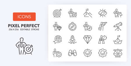 Mission, vision and values. Business concepts. thin line icon set. Outline symbol collection. Editable vector stroke. 256x256 Pixel Perfect scalable to 128px, 64px ...