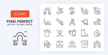 Gardening equipment and furnitures, thin line icon set. Outline symbol collection. Editable vector stroke. 256x256 Pixel Perfect scalable to 128px, 64px ... Vektorgrafik