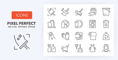 Cleaning thin line icon set. Outline symbol collection. Editable vector stroke. 256x256 Pixel Perfect scalable to 128px, 64px ...