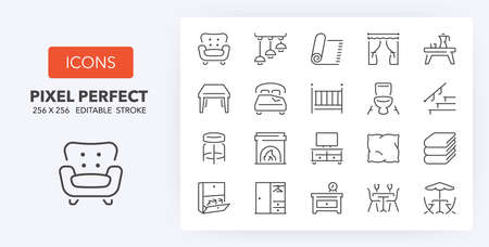 Furniture, drapery and home textiles. Thin line icon set. Outline symbol collection. Editable vector stroke. 256x256 Pixel Perfect scalable to 128px, 64px ...