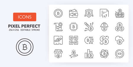 Crypto currency. Thin line icon set. Outline symbol collection. Editable vector stroke. 256x256 Pixel Perfect scalable to 128px, 64px ...