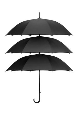Threefold umbrella on a white background Stock Photo
