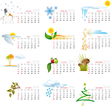 day planner: Vector Calendar for 2010 with graphic elements
