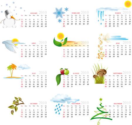 Vektor-Kalender für das Jahr 2010 mit grafischen Elementen Standard-Bild - 5265933