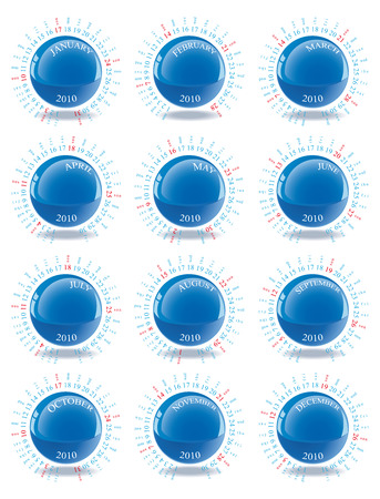 schedulers: Vector Calendar for 2010 with graphic elements