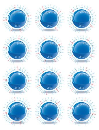 Vektor-Kalender für das Jahr 2010 mit grafischen Elementen Standard-Bild - 5265934