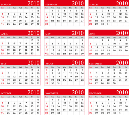 Vector Calendar for 2010 with graphic elements
