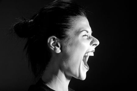The black-and-white image of the shouting girl photo
