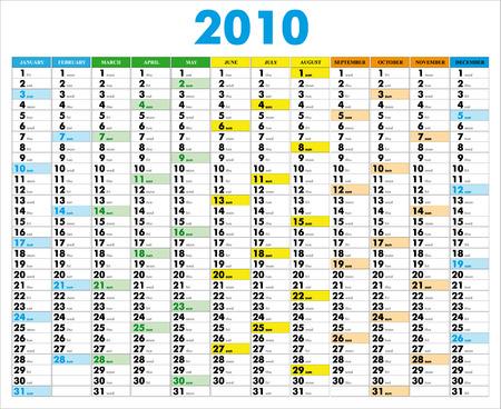 Vektor-Kalender für das Jahr 2010 mit grafischen Elementen Standard-Bild - 5326336
