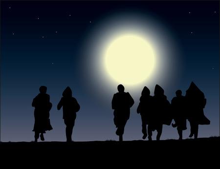 runing: Grupo de personas que se ejecuta bajo la noche de luna llena  Vectores