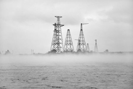 power generating station in the fog photo