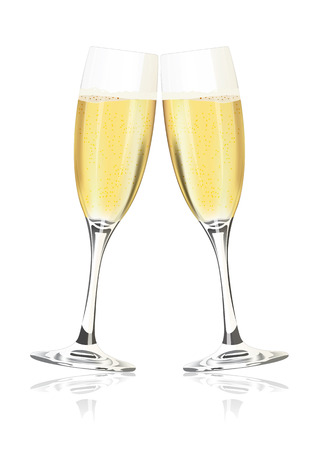champagne toast: champagne glasses on a white background