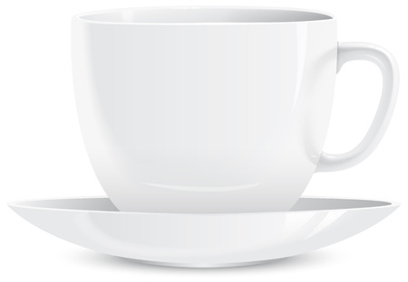 illustration of white cups and saucers