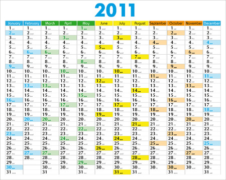 schedulers: Vector Calendar for 2011 with graphic elements