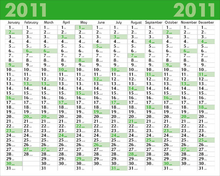 Vector Calendar for 2011 with graphic elements
