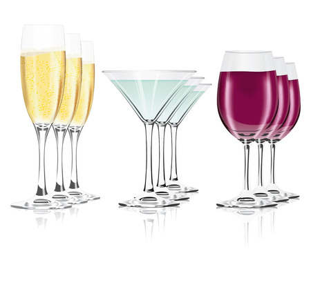champagne glasses on a white background