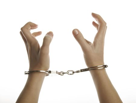 wristlets: Hands and handcuffs isolated on white background