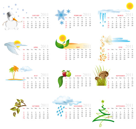 weekly planner: Vector Calendar for 2011 with graphic elements