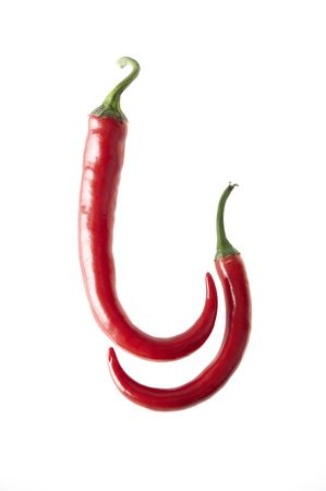Chili pepper isolated on white background, hot Stock Photo - 6595431