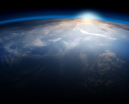 orbit: Planet Earth Space Global View and Sun in the Background Stock Photo