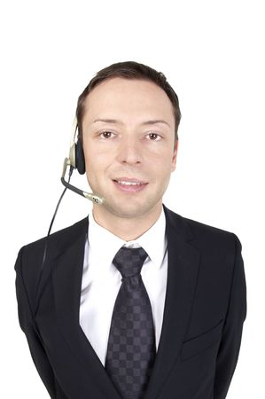 young business man with headphones on white background, isolated photo