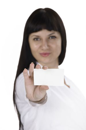 Portrait of a beautiful businesswoman holding a white card. Isolated photo