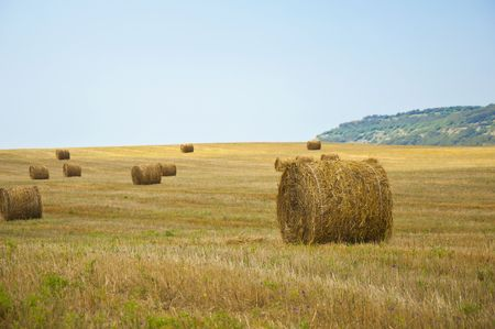stack of straw on the mown field beneath a blue sky, Tuscany Stock Photo - 7744609