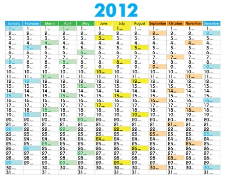 Vector Calendar for 2012 year with graphic elements Vector