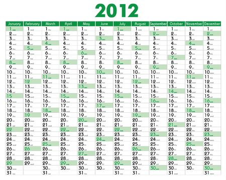 Vector Calendar for 2012 year with graphic elements