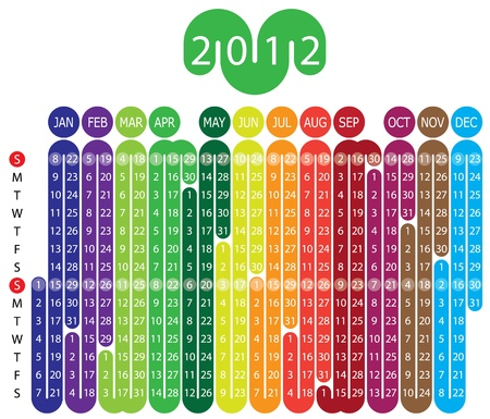 day planner: Vector Calendar for 2012 year with graphic elements
