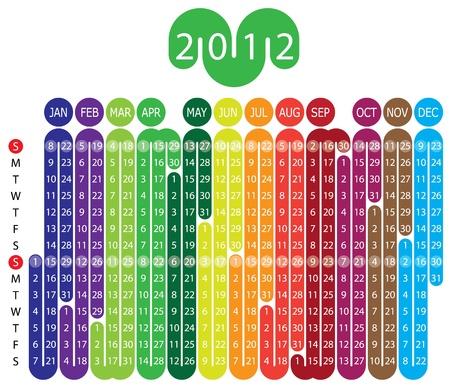 Vektor-Kalender für 2012 Jahr mit grafischen Elementen Standard-Bild - 9707346