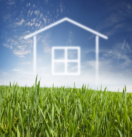 Project home on fresh, young, green grass and blue sky with white clouds