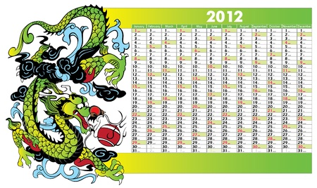 Vector Calendar for 2012 year with chinese dragon Vector