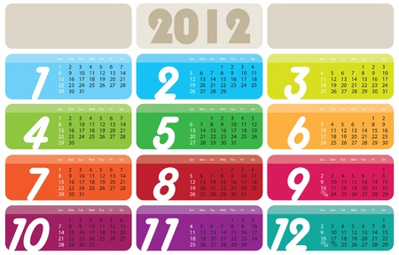 scheduler: Vector Calendar for 2012 year with graphic elements