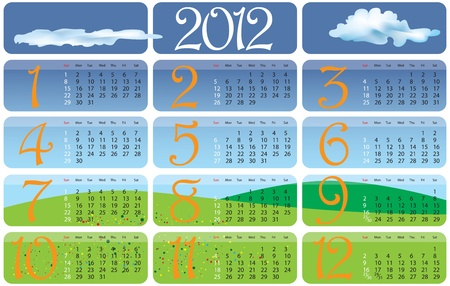Vector Calendar for 2012 year with graphic elements Stock Vector - 9808695