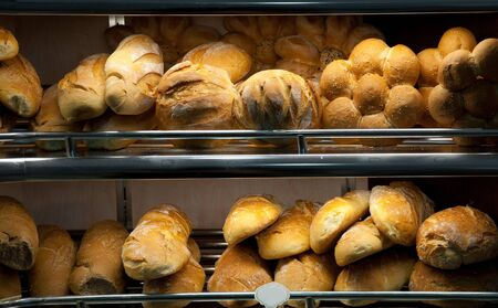 Variety of bakery products on the shelf in the store Stock Photo - 10001821