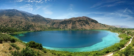 panorama of the lake Kourna, Crete, Greece
